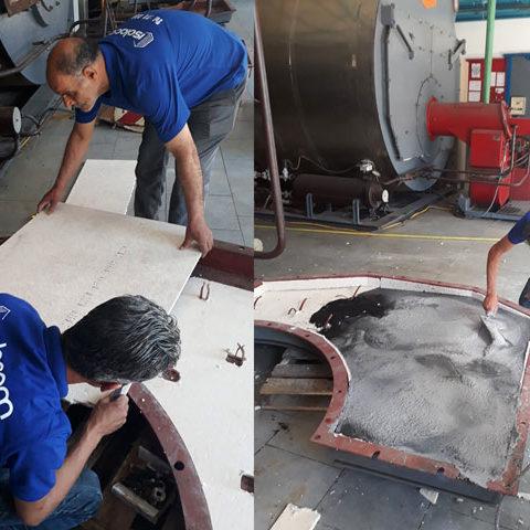 Revêtement porte chaudière isolation thermique industriel